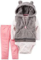 Carter's 3-Pc. Hooded Vest, Bodysuit & Leggings Set, Baby Girls (0-24 months)