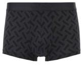 HUGO BOSS - Square Cut Printed Trunks With Logo Waistband - Black