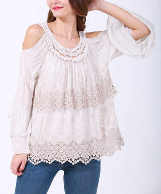 Couture Simply Women's Blouses BEIGE - Beige Lace Tiered-Ruffle Cutout Top - Plus