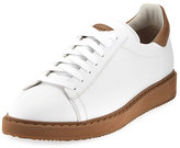 Brunello Cucinelli Icaro Leather Low-Top Sneaker, White