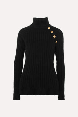 Balmain Button-embellished Ribbed Cotton-blend Turtleneck Sweater - Black