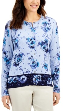 Karen Scott Border Floral-Print Cardigan, Created for Macy's
