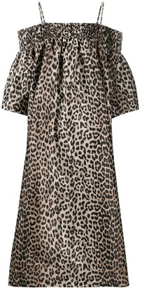 Ganni Off-Shoulder Leopard Dress