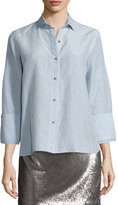 Halston Long-Sleeve Oversized Chambray Shirt