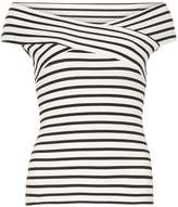 Ivory and black stripe bardot top