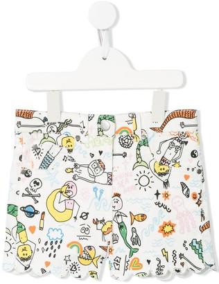 Stella Mccartney Kids Illustrated Mermaid Print Shorts