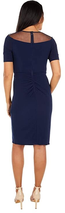Thumbnail for your product : Adrianna Papell Jersey Draped Cocktail Dress with Mesh Yoke Women's Dress