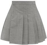 Matthew Adams Dolan - Pleated Houndstooth Wool-blend Mini Skirt - Womens - Black White