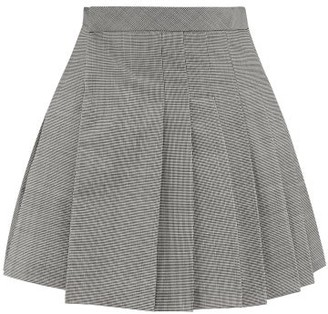 Matthew Adams Dolan - Pleated Houndstooth Wool-blend Mini Skirt - Womens - Black White
