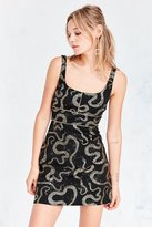 Ecote Metallic Boa Print Ponte Mini Dress