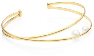 Mizuki 14K Yellow Gold, 5mm-6mm Freshwater Pearl Elipse Cuff Bracelet