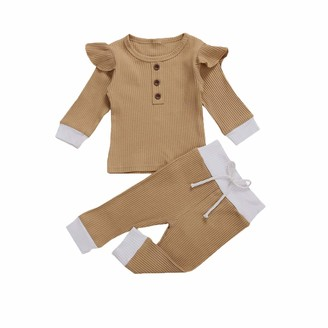 Longfei Newborn Baby Girl 2pcs Clothes Set Ruffle Long Sleeve Romper Pants Clothes (Pink 0-3 Months)