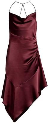 Parker Black Edyth Asymmetric Satin Dress