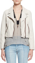 Isabel Marant Aken Cropped Leather Jacket, Chalk