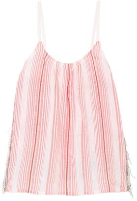 Lemlem Tereza Fringed Striped Cotton-blend Gauze Top