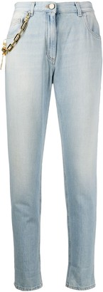 Elisabetta Franchi Chain Link Strap Tapered Jeans