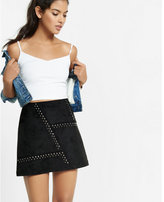 Express black faux suede studded aline mini skirt