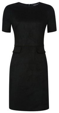 Dorothy Perkins Womens Black Suede Pocket Shift Dress, Black