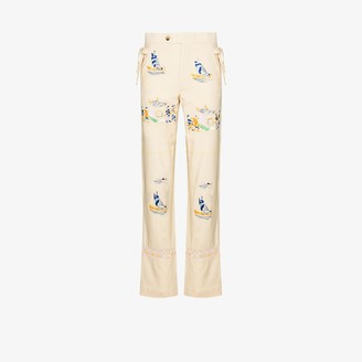 Bode Sailing Tableau Embroidered Silk Trousers