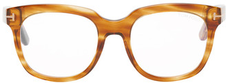 Tom Ford Brown Blue Block Large Square Glasses