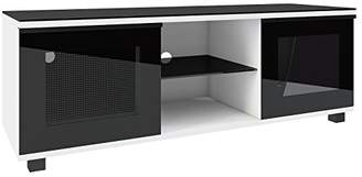 """VCM Premium TV Lowboard Cabinet Table Entertainment Unit Furniture with 2 Glass Doors and 2 Shelves """"Luxala"""" White/Black"""