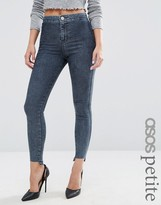 Asos Rivington High Waist Denim Jeggings in Mottled Darkwash with Step Hem
