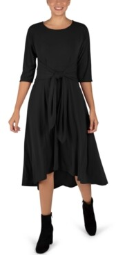 Robbie Bee Tie-Front Elbow-Sleeve Midi Dress