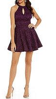 B. Darlin Keyhole Neckline Sequin-Embellished Lace Skater Dress