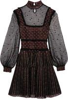 Alexander McQueen Ruffle-trimmed Embroidered Silk-blend Tulle Mini Dress - Black