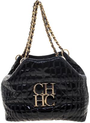 Carolina Herrera Black Croc Embossed Patent Leather Tote