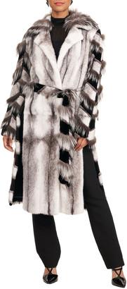 Burnett Mink Short Coat w/ Fox Intarsia Sleeves