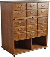 Rejuvenation 15-Drawer Oak Filing Cabinet on Casters