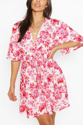 boohoo Floral Lace Up Detail Flute Sleeve Skater Dress