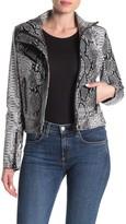 Blank NYC Blanknyc Denim Snake Embossed Faux Leather Moto Jacket
