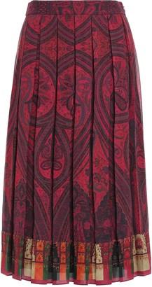 Adam Lippes Pleated Printed Crepe Midi Skirt