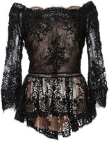 Marchesa Off The Shoulder Beaded Lace Peplum Top