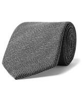 Tom Ford 8cm Herringbone Mohair And Wool-blend Tie - Gray