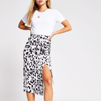 Ri Beauty River Island Womens White animal print short sleeve midi dress