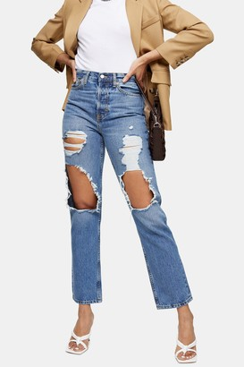 Topshop Mid Blue Ripped Dad Jeans