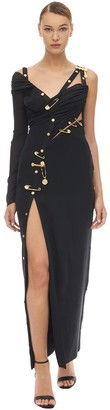 Versace Long Draped Tulle & Crepe Dress W/Pins