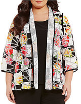 IC Collection Plus Long Sleeve Open Front Floral Mesh Jacket