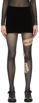 we11done Black Velour Miniskirt
