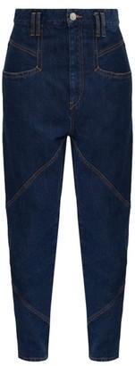 Isabel Marant Nadeloisa High-rise Panelled Cotton Jeans - Dark Denim