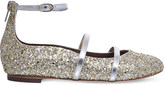 Malone Souliers Robyn glitter leather flat shoes 4-8 years
