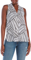 Vince Camuto Printed Pleated V-Neck Blouse
