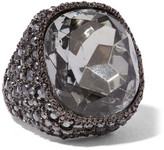 Kenneth Jay Lane Gunmetal-plated Crystal Ring - one size