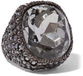 Kenneth Jay Lane Gunmetal-plated Crystal Ring