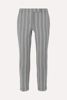 Thom Browne Cropped Striped Wool And Cotton-blend Slim-leg Pants - Gray
