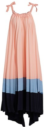 Issey Miyake Panorama Pleated High-Low Maxi Dress