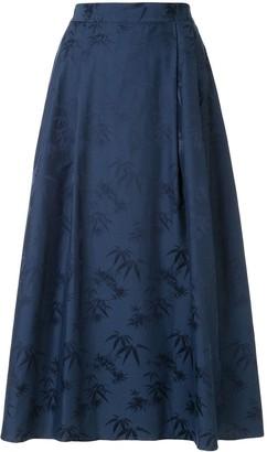 Shanghai Tang Bamboo jacquard flared maxi skirt